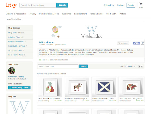 Whitehall Shop on Etsy