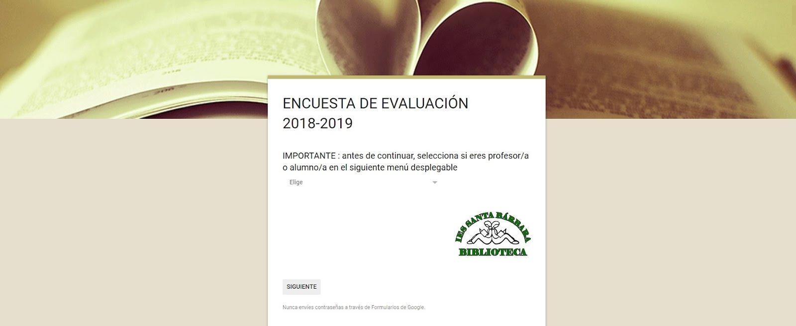 Encuesta de evaluación curso 2018-2019
