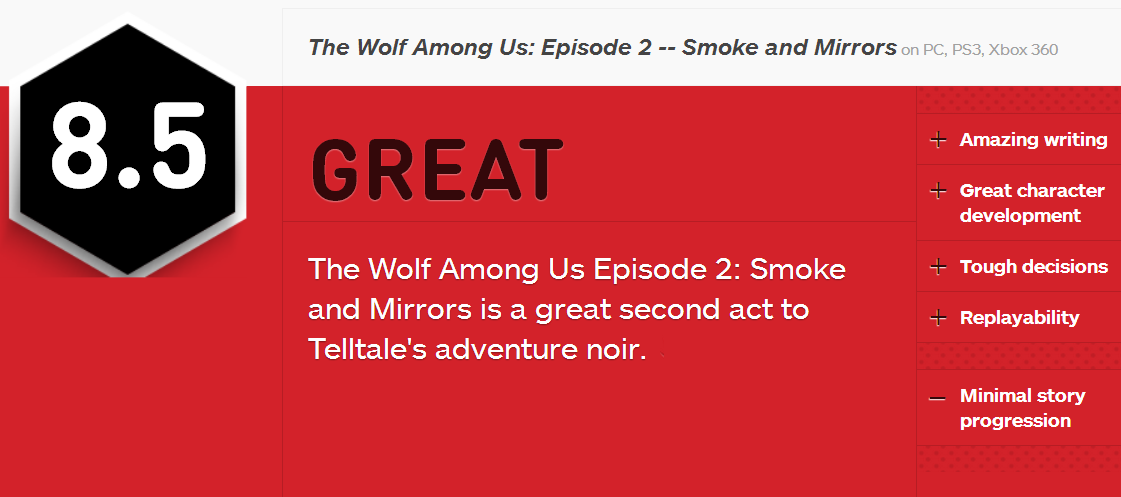 Wolf Among Us PC Game IGN Rating