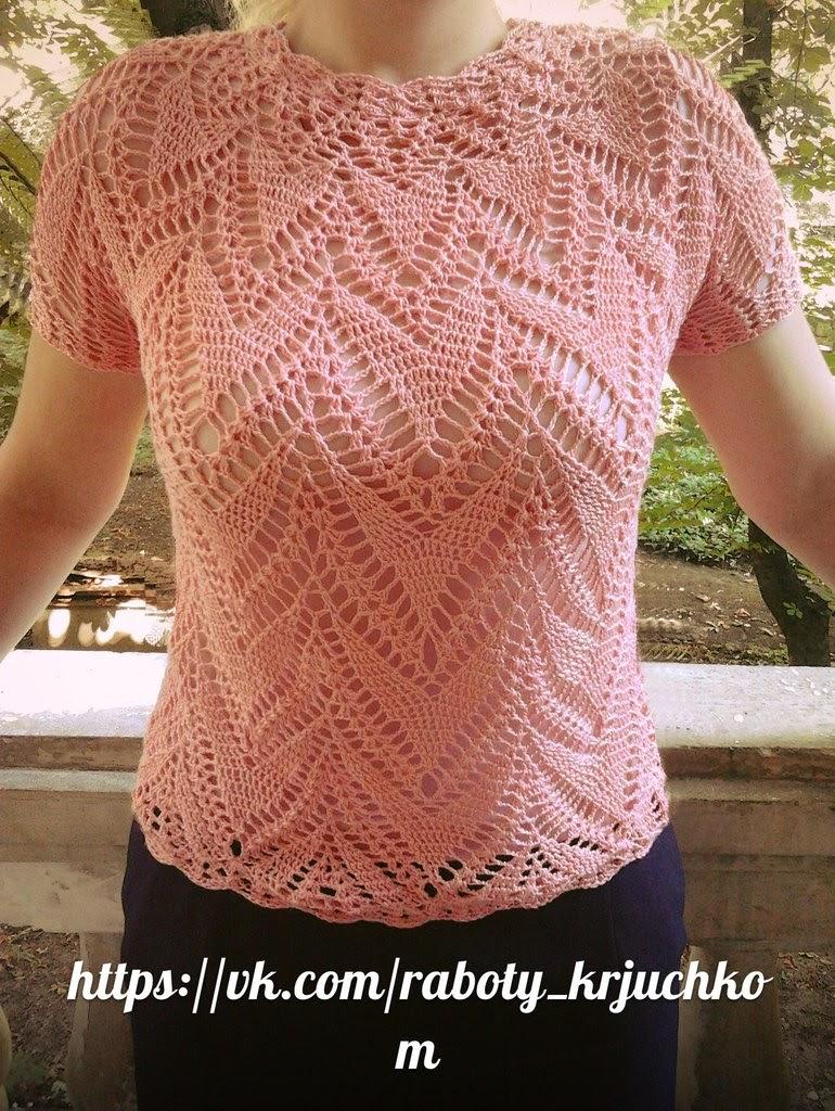 hermosa blusa rosa tutorial en video crochet y dos