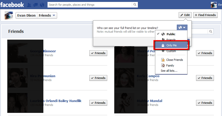 how to open friend list in facebook