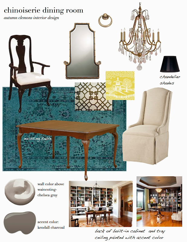 with this plan an over dyed teal rug is paired title=