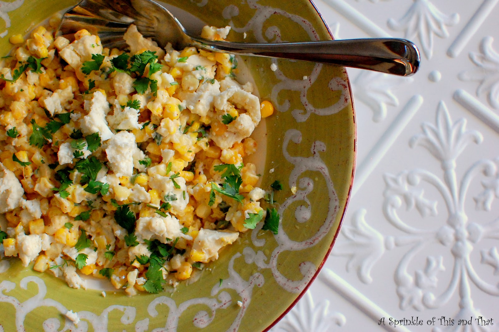 A Sprinkle of This and ThatGrilled Mexican Street Corn Salad