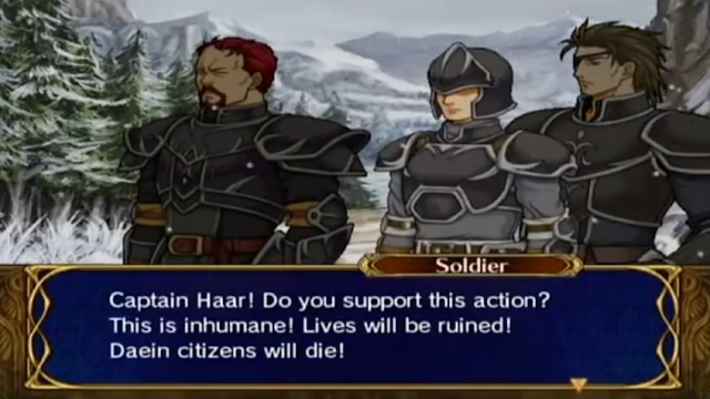 Defending Talrega Fire Emblem Path of Radiance Daein soldier dialogue