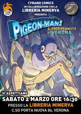 Pigeon-Man alla libreria Minerva Verona