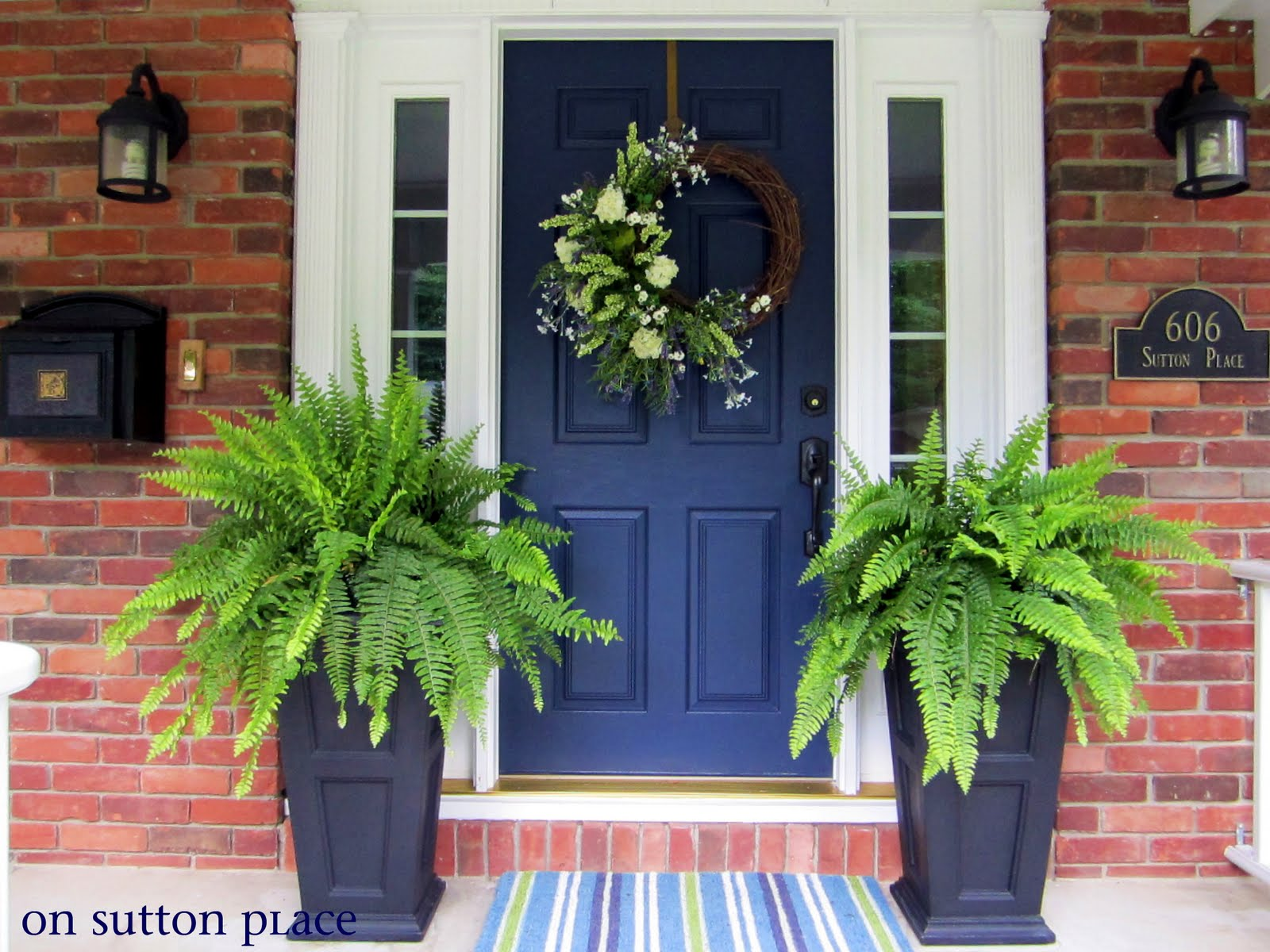 My new blue front door on sutton place Front door color ideas for brick house