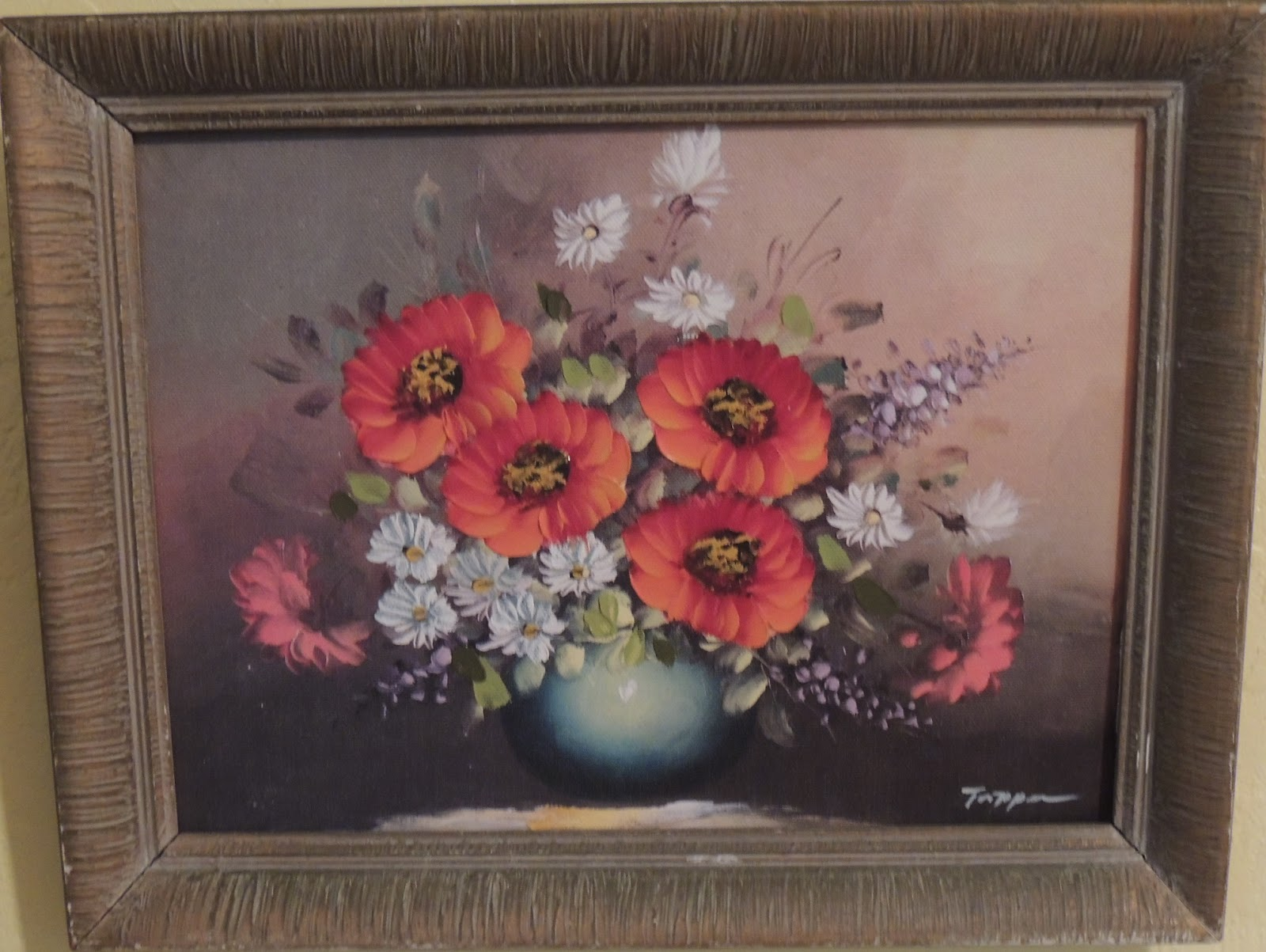 Color printing joliet - Original Framed Print Signed Tappan I Can T Read The Signature The Colors Of These Flowers Are Outstanding The Frame Has A Few Paint Chips Missing Due To