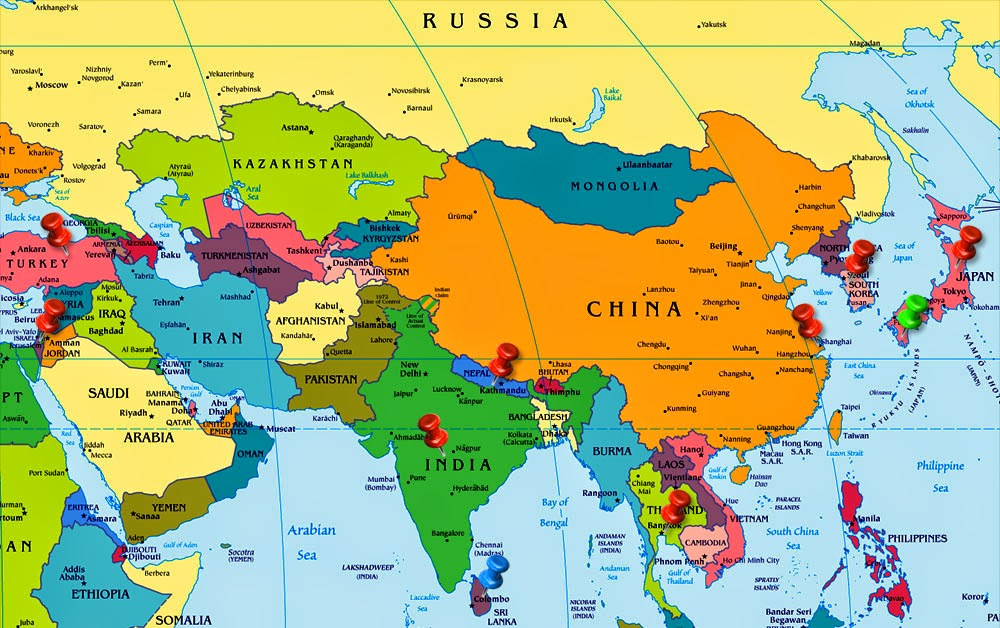 image result for asia continent rivers