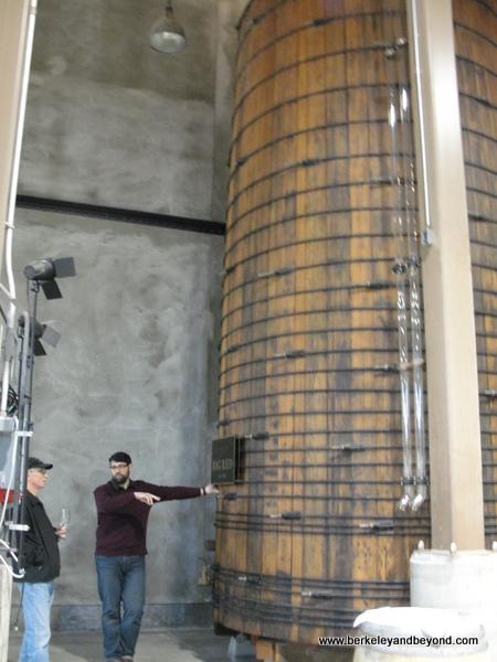 vintage redwood barrel at Charles Krug Winery in St. Helena, California