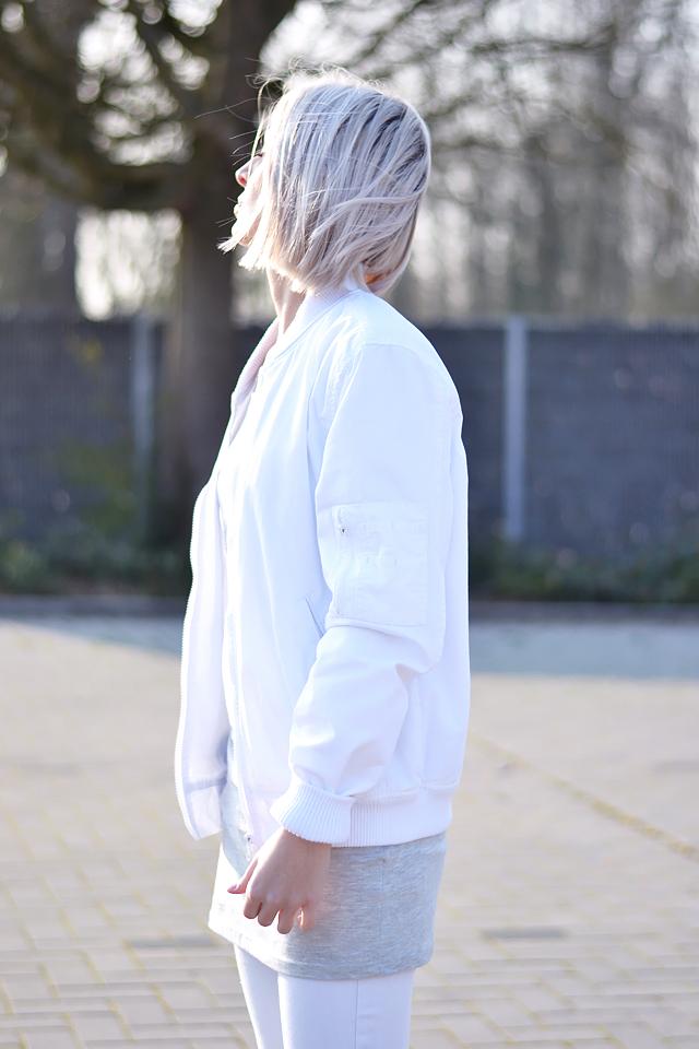 White, bomber jacket, varsity jacket, college jacket, asos