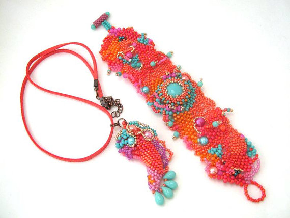 Colorful beadwork bracelet, Beaded cuff jewelry, Boho freeform peyote bracelet, orange and turquoise seed bead jewelry