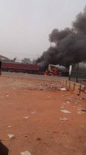 Dangote trucks set ablaze by Biafra protesters