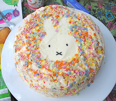 Simple Miffy bunny cake with sprinkles