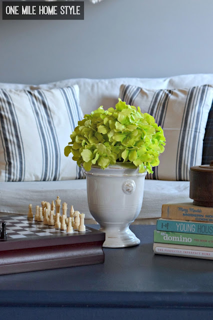 How to Add Easy Farmhouse Style with Grain Sack Printed Pillows - One Mile Home Style