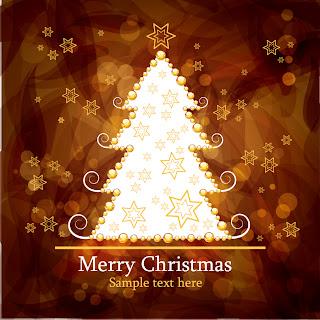 茶系のゴージャスな星とクリスマスツリーの背景 christmas gorgeous brown background イラスト素材