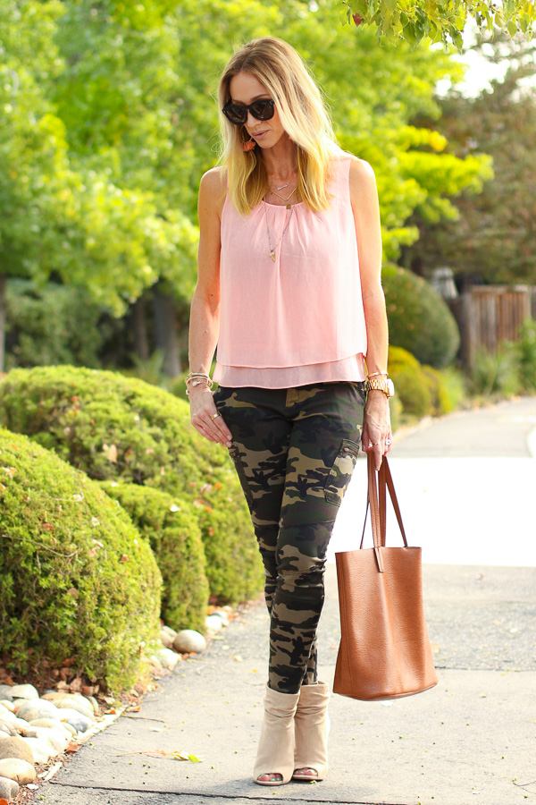 peach tank camo pants with booties