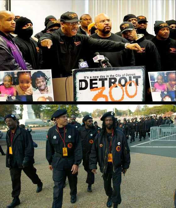TOP: Members of the Detroit 300; BOTTOM: Members of the New Black Panthers.