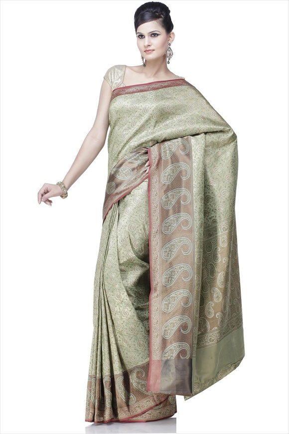 Forest Green Satin Banarasi Saree