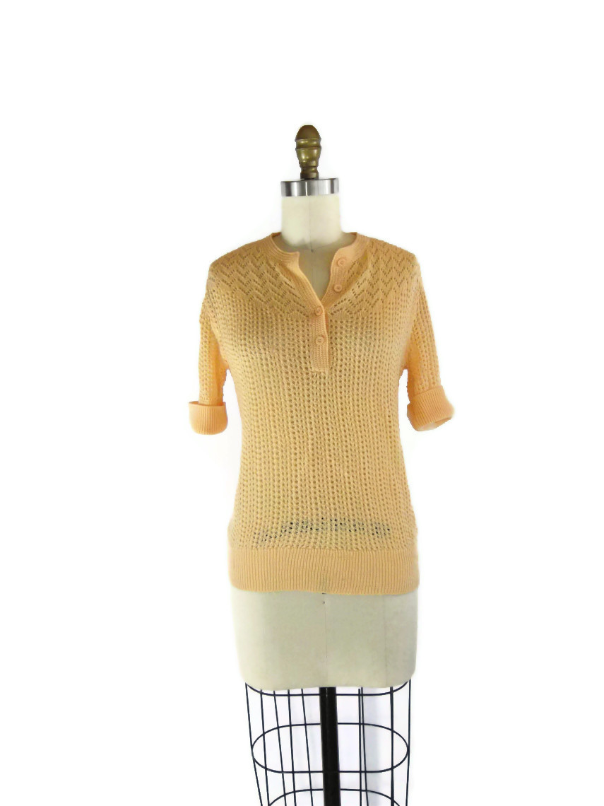 foxburrow vintage 1960s Peach Pointelle Sweater