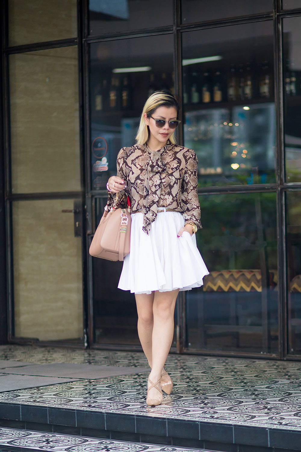 Crystal Phuong- Fashion Blogger- Raye the label shoes, white skirt & snake skin blouse