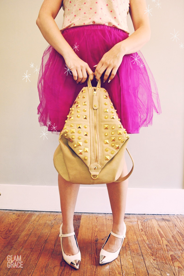 Tulle Skirt - studded mini backpack