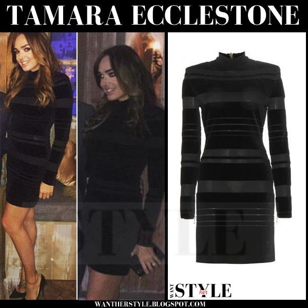 Tamara Ecclestone in black velvet Balmain mini dress what she wore