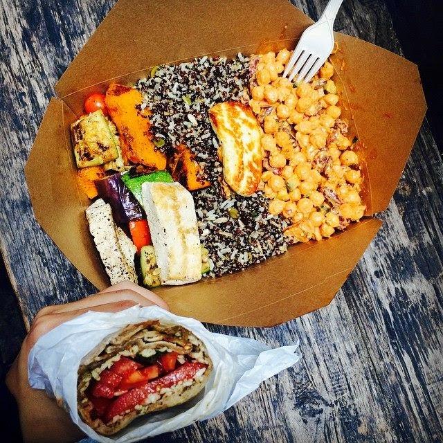 Organic Vegetarian and Vegan Salad and Flatbread