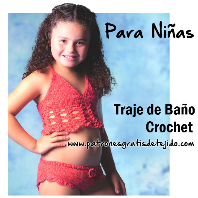 Malla de nena tejida con dos agujas y crochet. El punto que se usa para  hacer esta malla o traje de baño