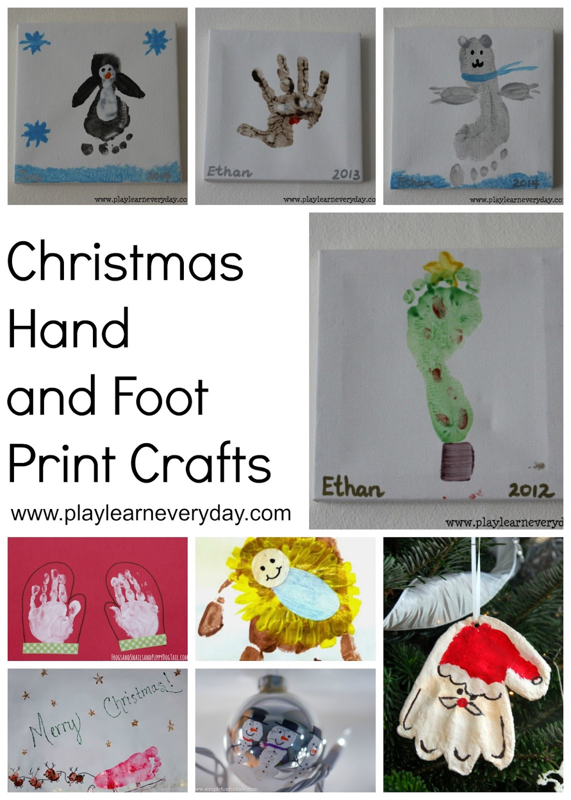 Christmas hand and foot print crafts play and learn for Hand and foot crafts