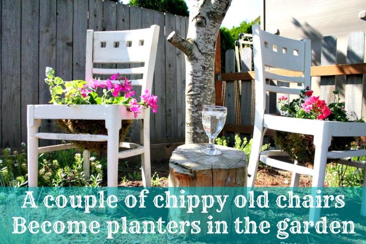 DIY Chair Planter ~ In The Flower Garden