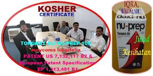 Pengiktirafan Jenama Malaysia penambahan fakta kelulusan KOSHER Certificate' Tongkat Ali Nu-Prep100