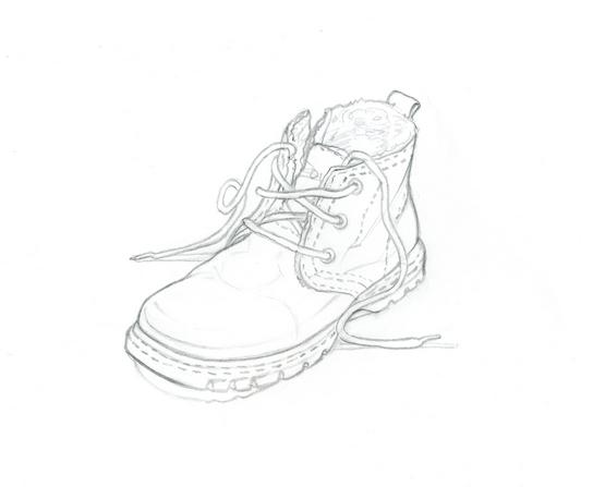набросок ботинка