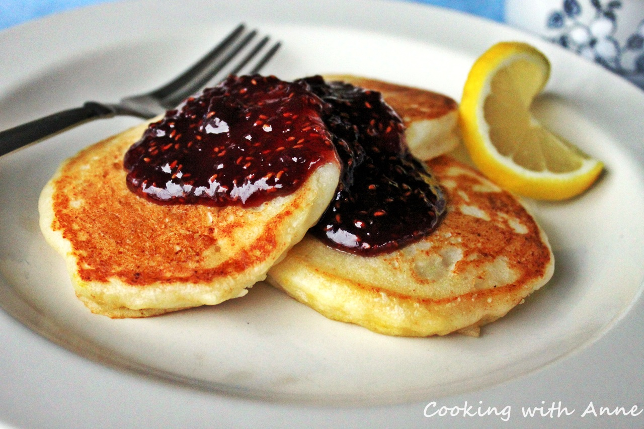 Lemon Ricotta Pancakes with Raspberry Preserves