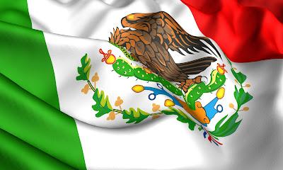 Bandera de México en ilustración verde, blanco y rojo.