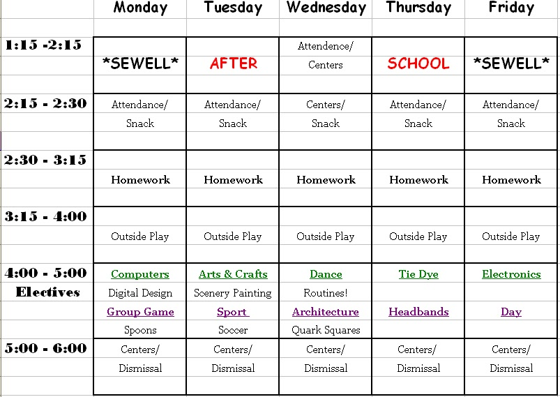 sewell u0026 39 s after school program  weekly schedule