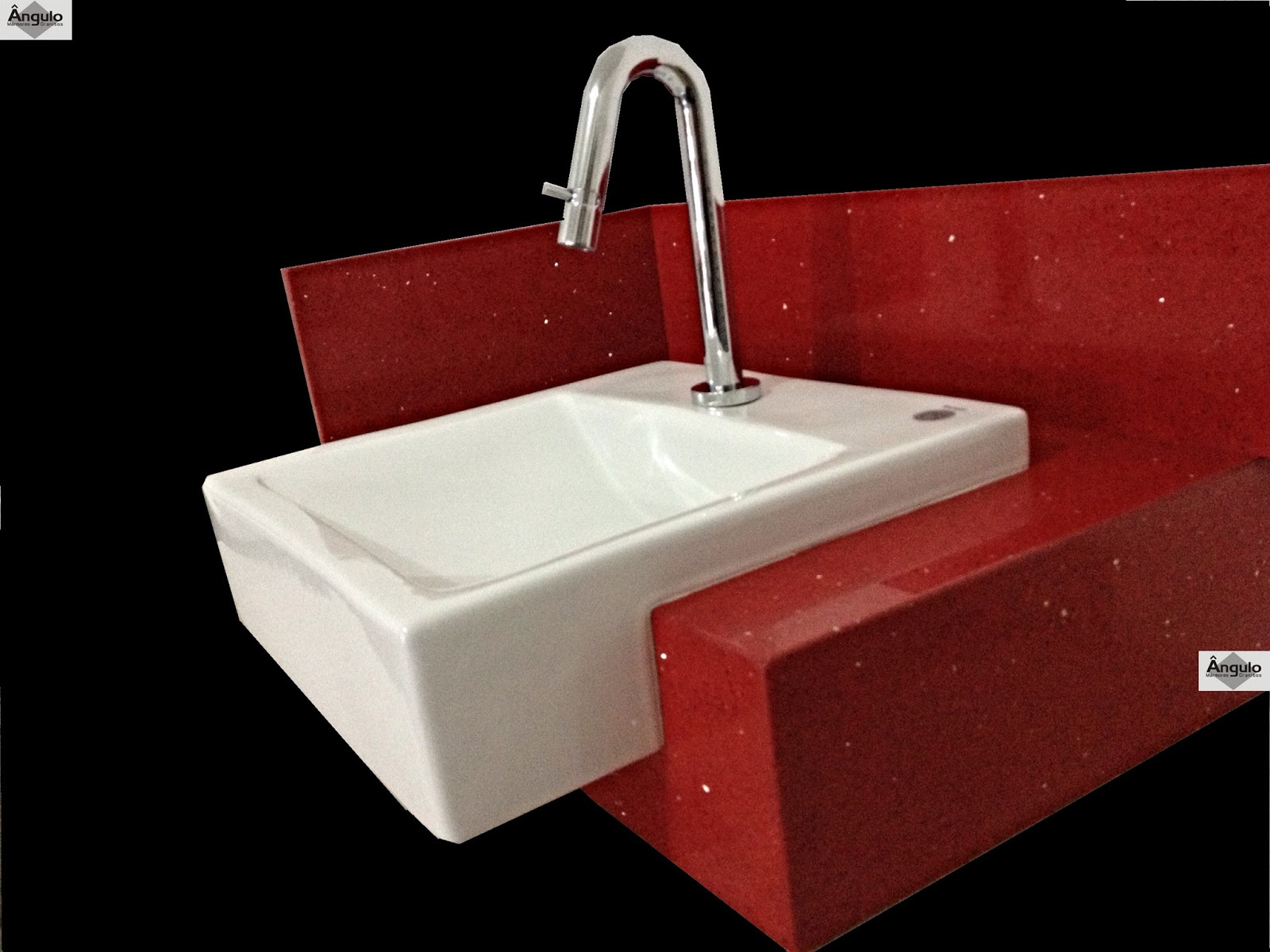 Mármores e Granitos: Bancada Banheiro Silestone Vermelho Stellar #080101 1600x1200 Bancada Banheiro Silestone Vermelho