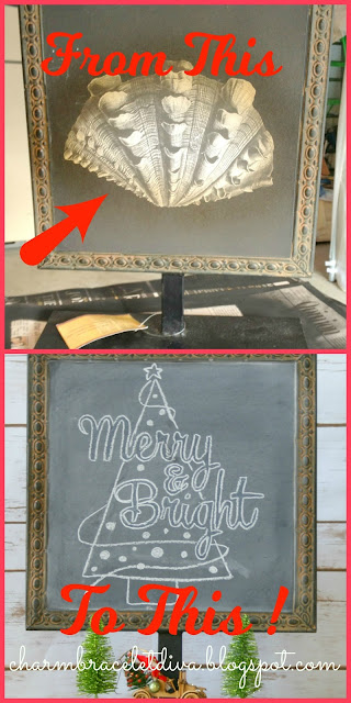 DIY Metal Sign Christmas Chalkboard Merry & Bright