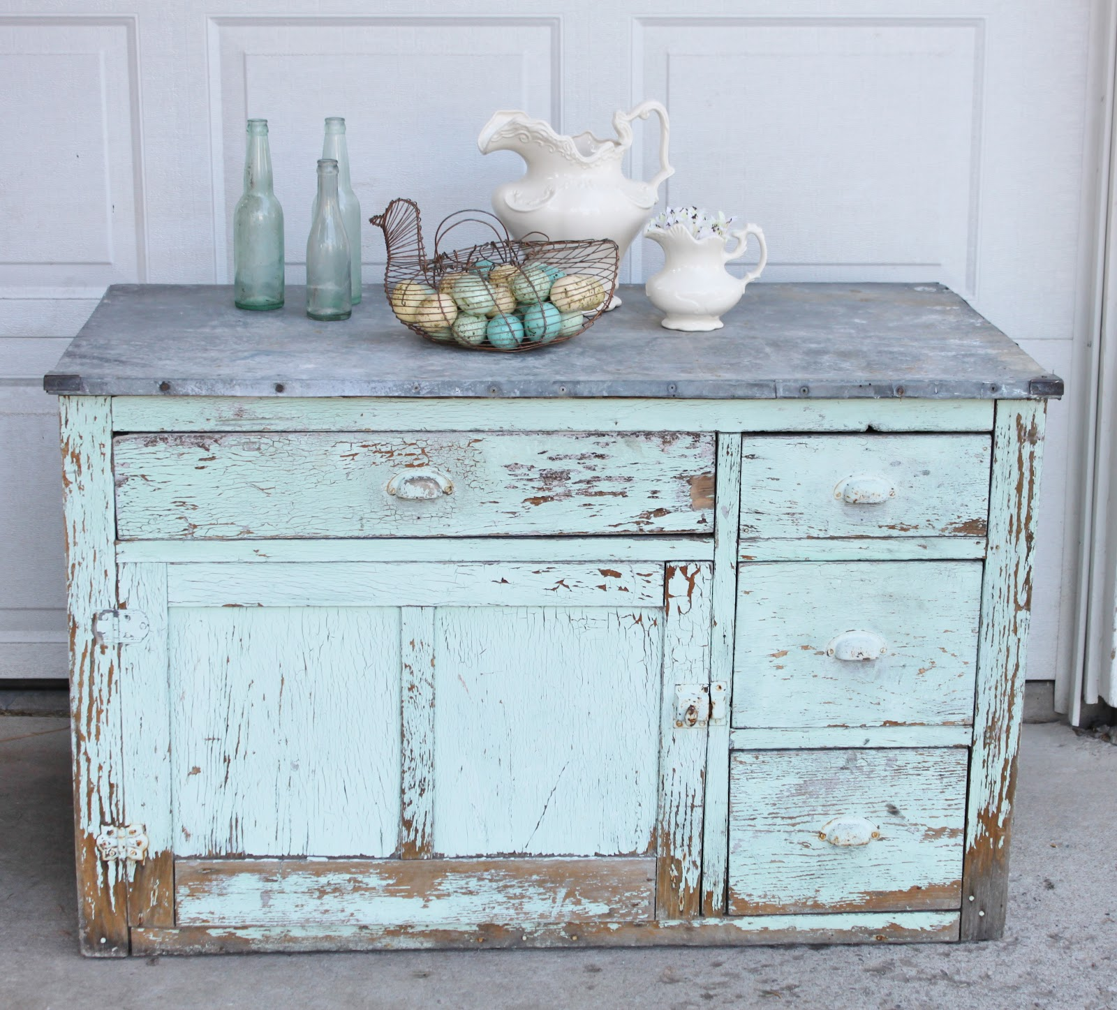 Shabby chic entry buffet vintage farm furniture - Meuble style shabby chic ...