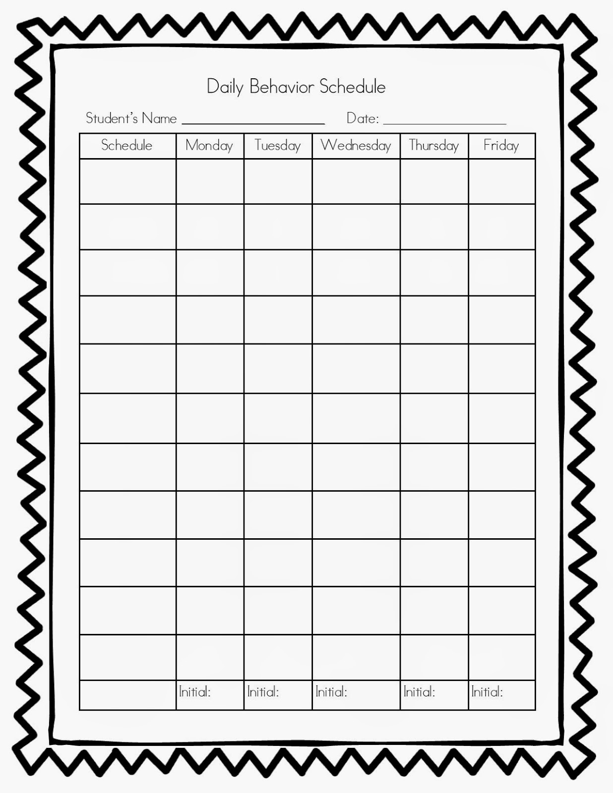 Behavior Charts  Kids Behavior Chart Template