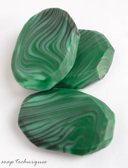 cold-process soap gemstones - malachite