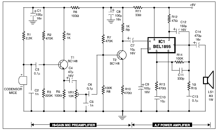 condenser mic audio amplifier electronic project circuit diagram