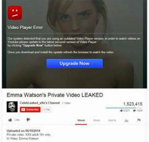 Nueva estafa Emma Watson en Facebook vídeo ofrece troyanos