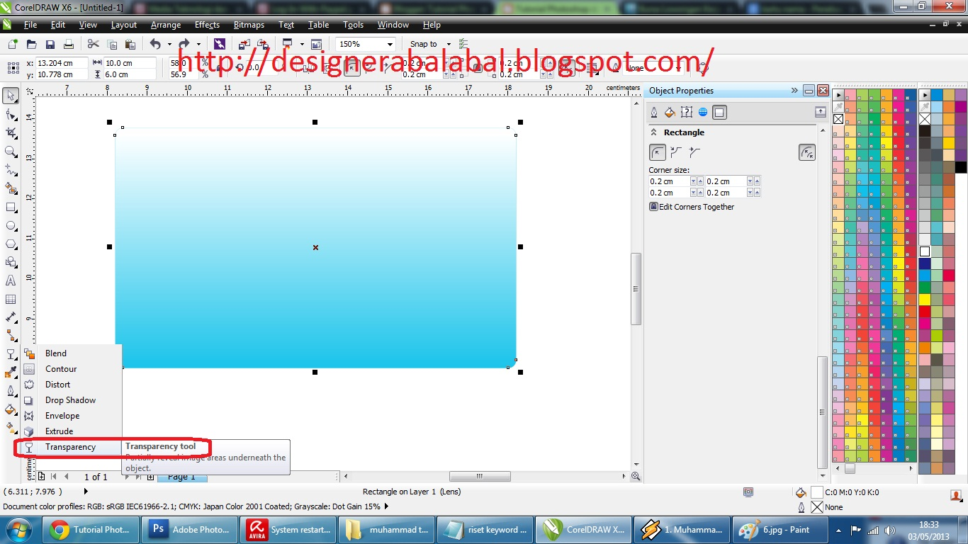 Atur posisi pada menu bar atas ( transparency type pilih yang
