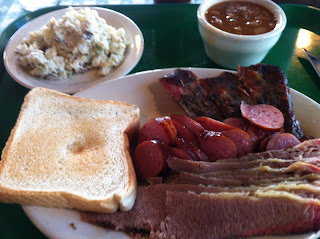 Sammy's Bar-B-Q BBQ Barbecue Barbeque Dallas Texas Three Meat Combo Smoked Sausage Ribs Brisket Potato Salad Beans