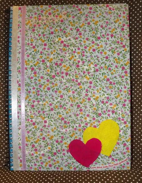 caderno, decorado, coração