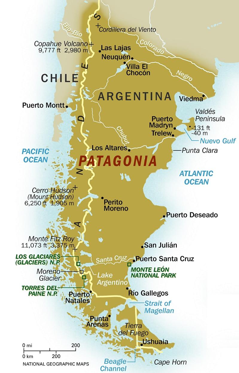 . argentina map patagonia region
