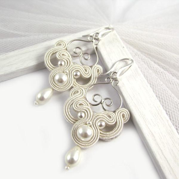 Kolczyki ślubne sutasz z perłami