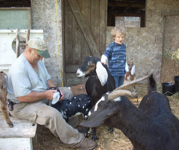 My Dear Friend and Farmer, Mac Hedgepath of Achinback Farm here with Shane and his beloved goats.