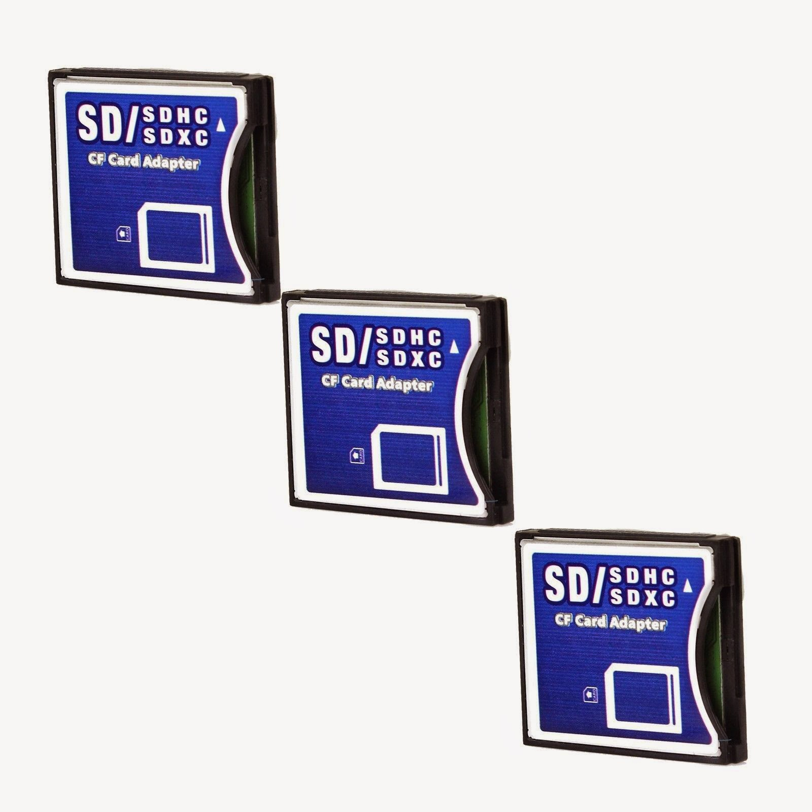 3 PCS WIFI SD/SDHC/SDXC To Compact Flash CF Type II Memory Card Adapter