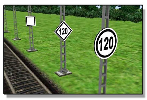 Señales de Límite de velocidad y de fin de límite de velocidad (última a la izquierda)
